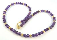 Deep Purple Amethyst Bead And Silver Gilt Necklace.